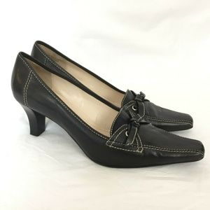 Etienne Aigner Heels 10 M Black Leather Square Toe